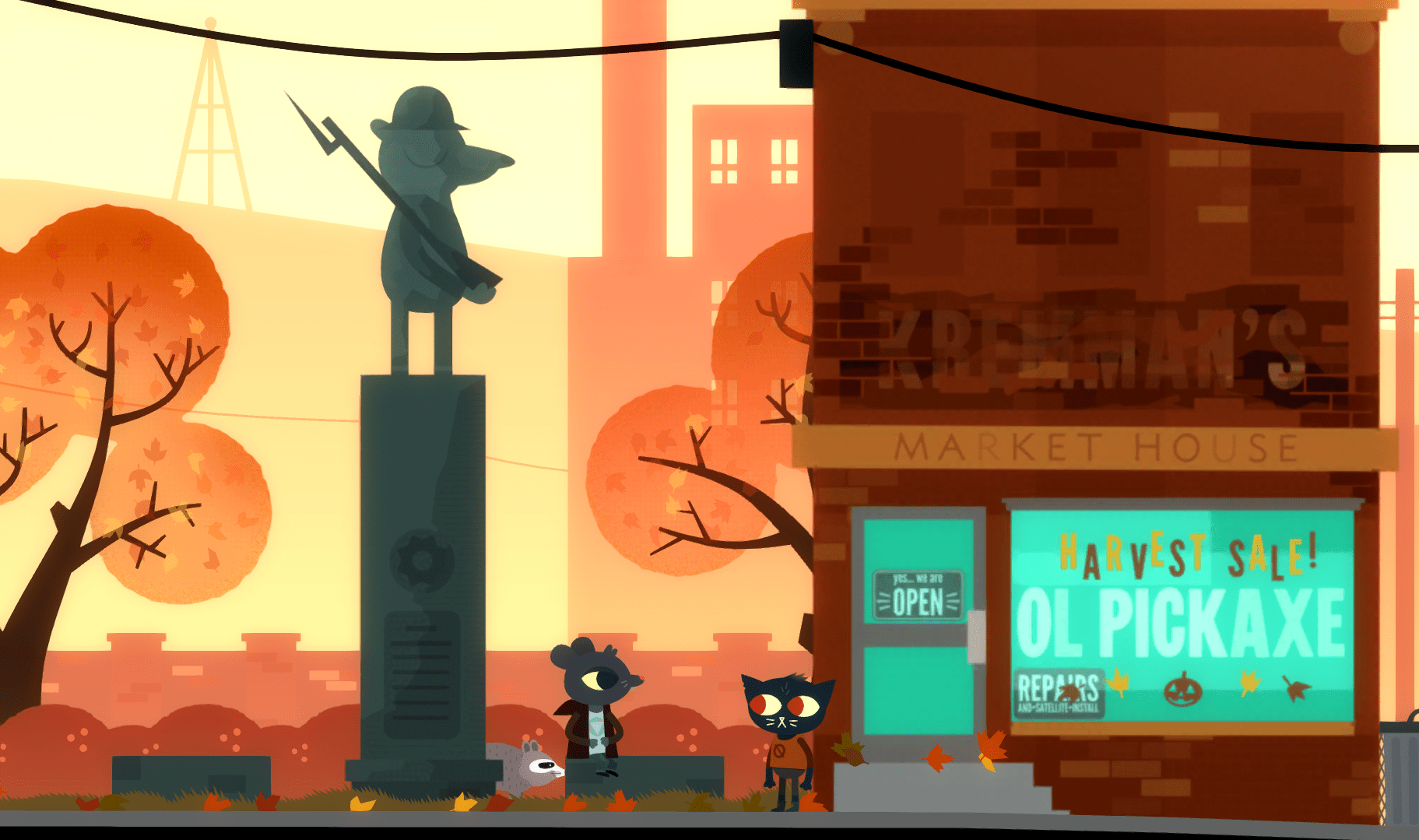 A screenshot of Night in the Woods.